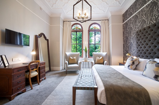 Bridal Suite, Stellenbosch Accommodation, Full length mirror, stain glass windows